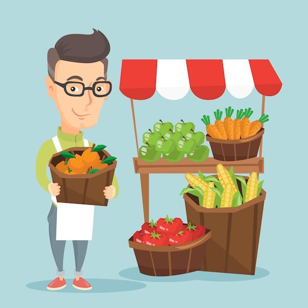 Straatverkoper met groenten en fruit. Premium Vector