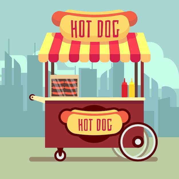 Straatvoedsel automaat met hotdogs in vlakke stijl Premium Vector