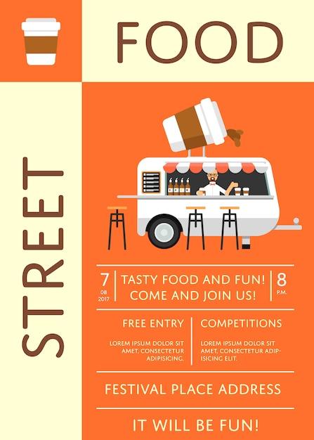 Straatvoedsel festival uitnodiging poster in vlakke stijl Premium Vector