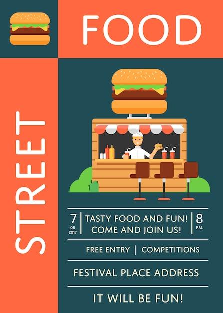 Straatvoedsel festival uitnodiging poster met hamburger café Premium Vector