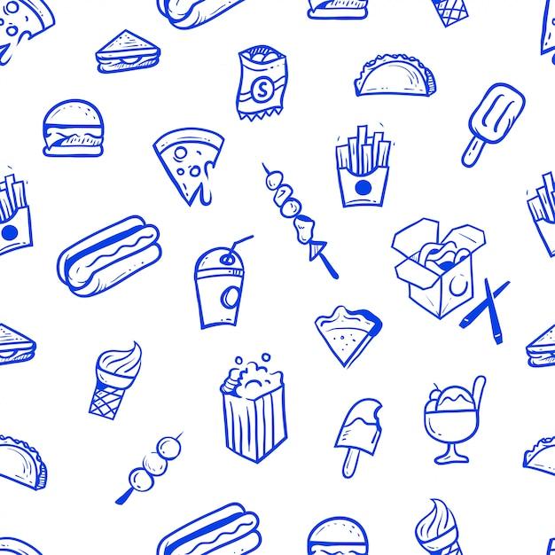 Straatvoedsel hand getrokken naadloze patroon illustratie Premium Vector