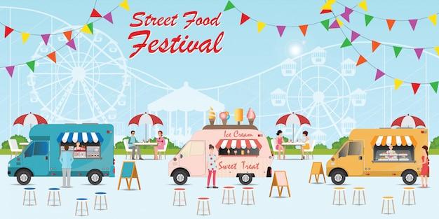 Straatvoedsel vrachtwagen festival Premium Vector