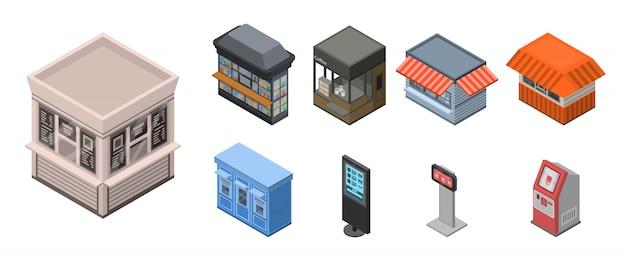 Straatwinkel kiosk icon set, isometrische stijl Premium Vector