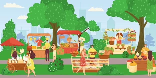 Straatwinkelsmarkt, mensen die verkopen en winkelen bij het lopen van straatillustratie. bakkerij-foodtruck, bloemenwinkel, fruit- en groentekraam. marktplaats van kiosken met producten, klanten. Premium Vector