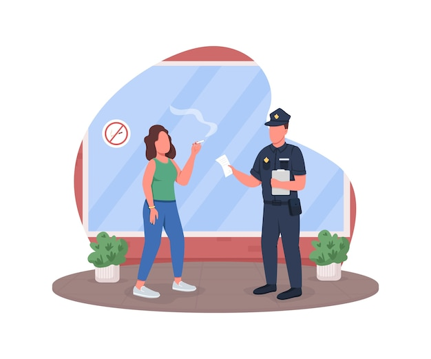 Straf voor het roken van 2d-webbanner, poster. politieagent met vrouw roker platte karakters op cartoon achtergrond. wettelijke regeling in openbare afdrukbare patch, kleurrijk webelement Premium Vector