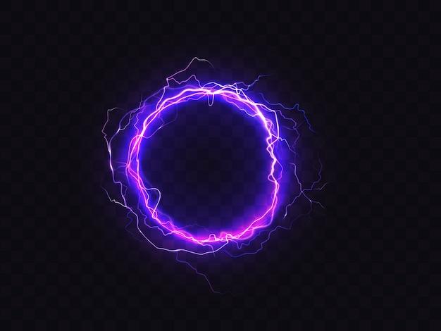 Stralende cirkel van paarse verlichting geïsoleerd op donkere achtergrond. Gratis Vector