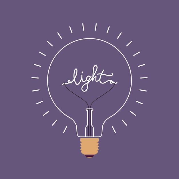 Stralende lamp met een woord licht erin Premium Vector