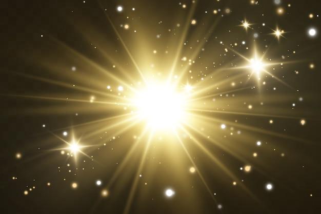 Stralende sterren lichteffect geïsoleerd op zwart Premium Vector