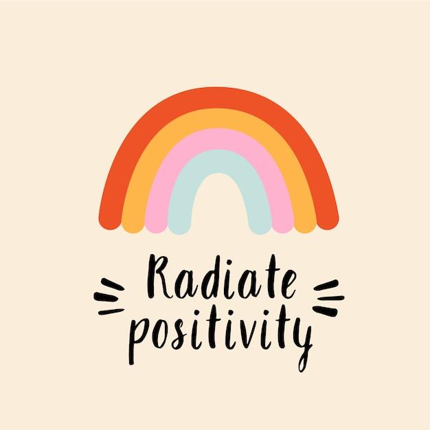 Stralings positiviteit gestileerde letters met regenboog Premium Vector