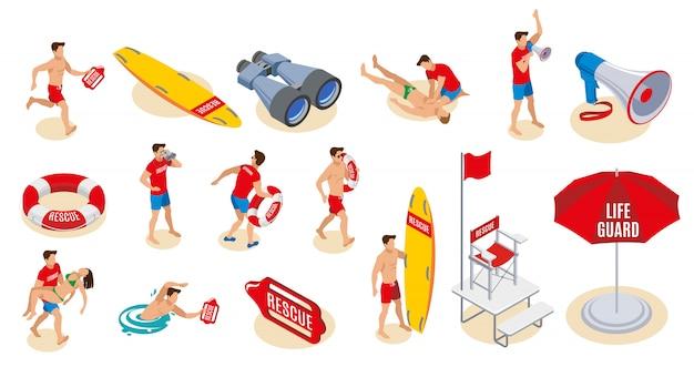 Strand badmeesters inventaris isometrische set van verrekijker luidspreker paraplu reddingsboei surfplank stoel met vlag Gratis Vector