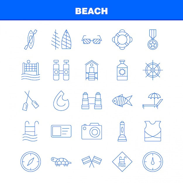 Strand lijn pictogram Premium Vector