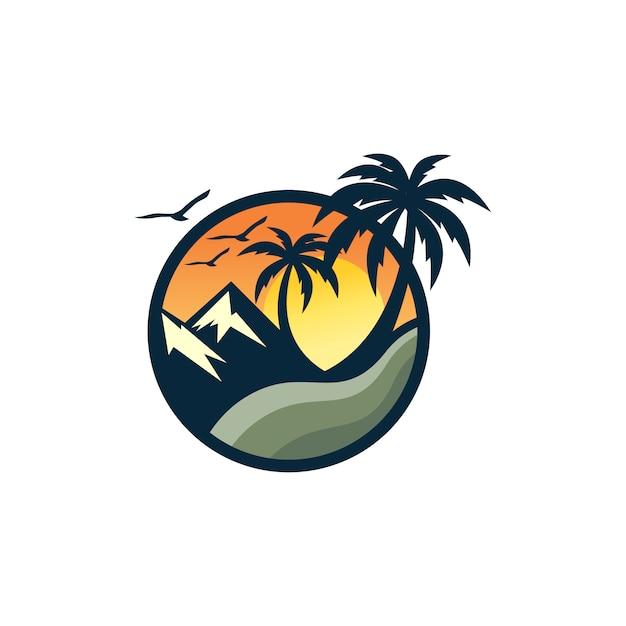Strand logo ontwerp vector sjabloon Premium Vector