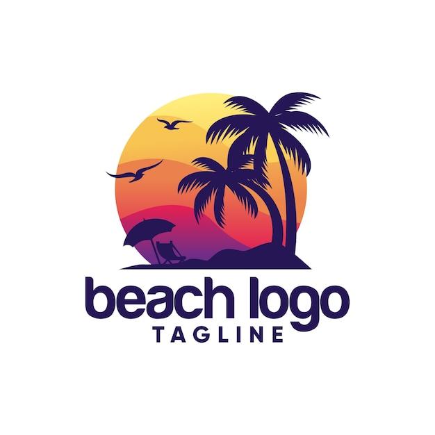 Strand logo vector sjabloon Premium Vector