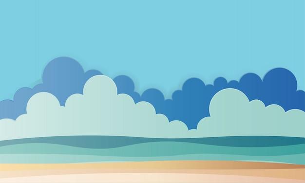 Strand met oceaan achtergrond papier kunst stijl illustratie Premium Vector