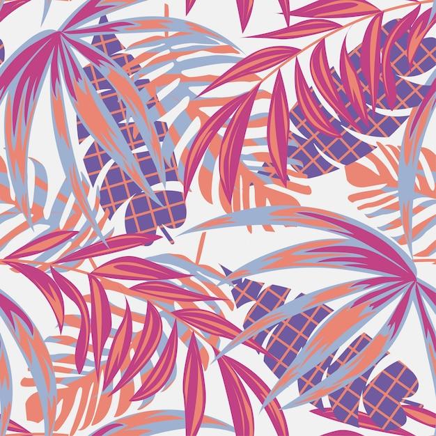 Strand naadloze patroon met kleurrijke tropische bladeren en planten op een delicate achtergrond Premium Vector