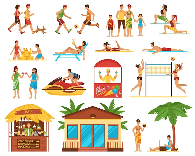 Strandactiviteiten decoratieve pictogrammen instellen Gratis Vector