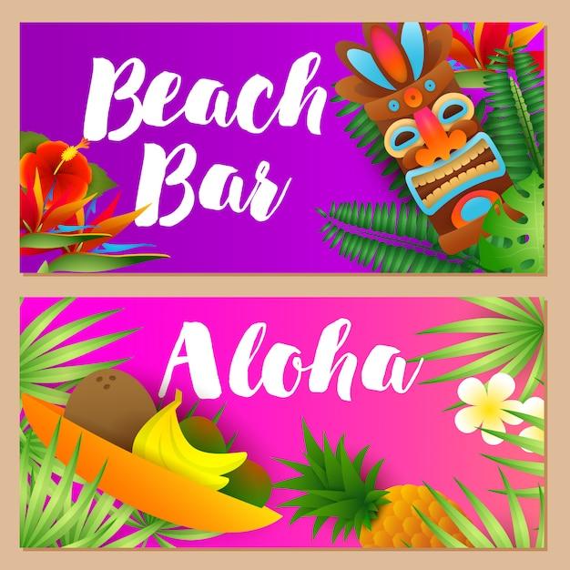 Strandbar, aloha-beletteringsset, tropisch fruit, tribaal masker Gratis Vector