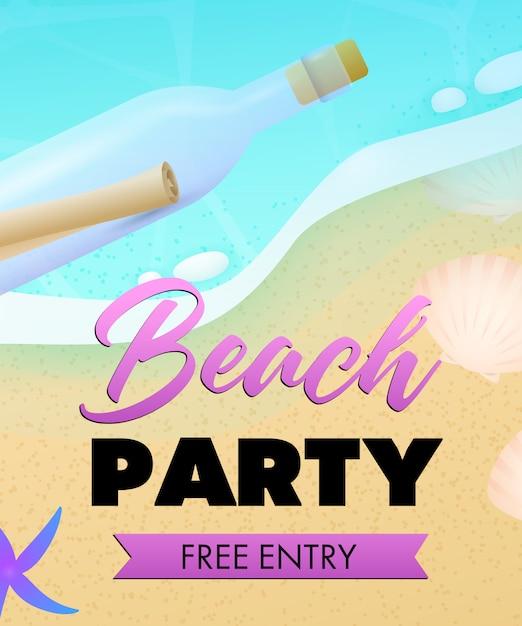 Strandfeest belettering, zee strand en fles met scroll Gratis Vector