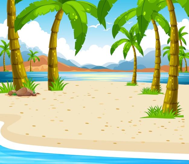 Strandscène met kokospalmen Gratis Vector