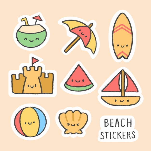 Strandsticker hand getrokken cartoon collectie Premium Vector