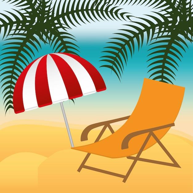 Strandstoel Met Parasol.Strandstoel En Parasol Op Zomer Beach Achtergrond Vector