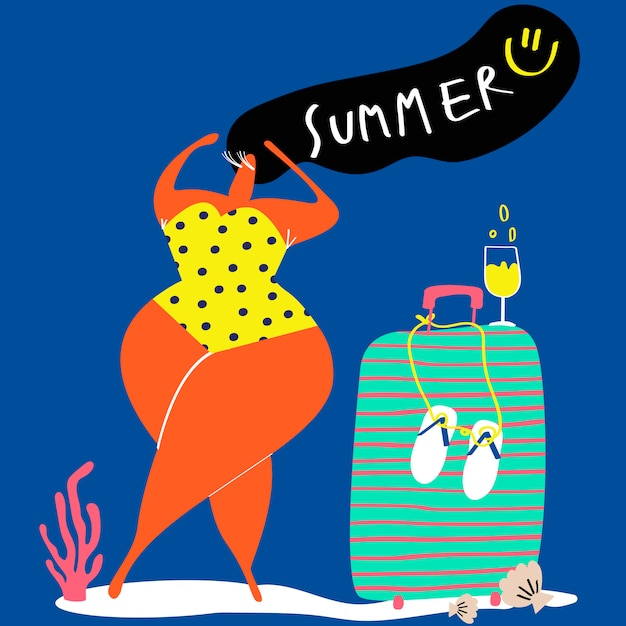 Strandvakantie in de zomer Gratis Vector