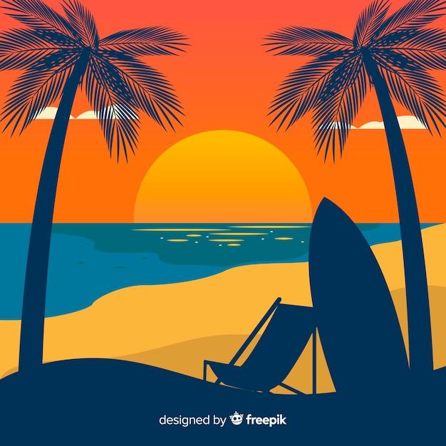 Strandzonsondergang met palmsilhouetten Gratis Vector