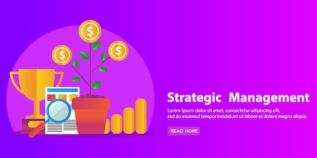 Strategie concept, business consulting, human resources en management plat modern design webbanner. Premium Vector