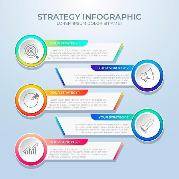 Strategie infographic sjabloon Gratis Vector
