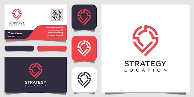 Strategielocatie of point tech-logo en visitekaartje. creatieve pinstrategietechnologie, elektronica, digitaal, voor pictogram of ontwerpconcept. Premium Vector