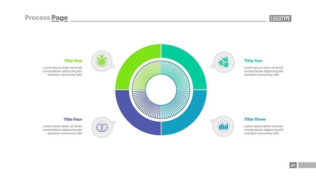 Strategiesjabloon met vier sectoren Premium Vector