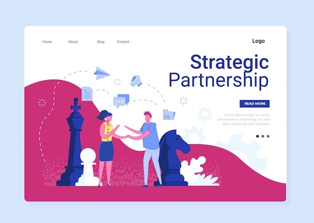 Strategisch partnerschap in zakelijke platte banner Premium Vector