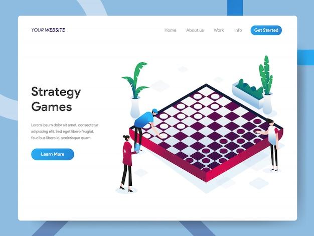 Strategische spellen isometrische illustratie voor websitepagina Premium Vector
