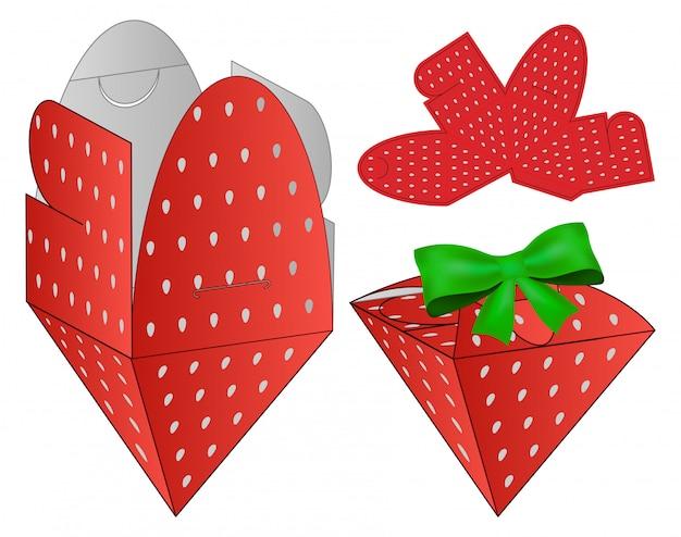 Strawberry box verpakking gestanst sjabloonontwerp. Premium Vector