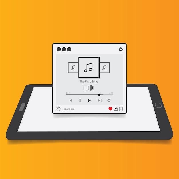 Streaming muziek speler applicatie met 3d tablet achtergrond, plat ontwerp stijl voor mobiele app, smartphones, pc of tablets. schoon en modern. vector illustratie. Premium Vector