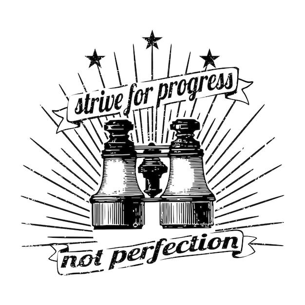 Streef naar vooruitgang, geen perfectievector Gratis Vector