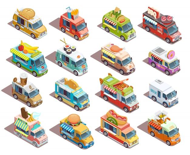 Street food trucks isometrische iconen collectie Gratis Vector