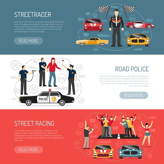 Street racing platte horizontale banners instellen Gratis Vector