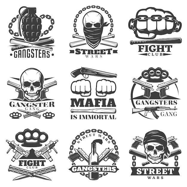 Street wars gangster emblem set Gratis Vector