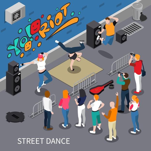 Streetdance isometrische compositie Gratis Vector