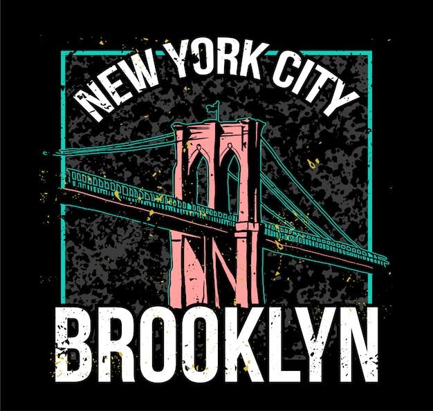 Streetstyle kleurrijke print met brooklyn bridge uit new york city. Premium Vector