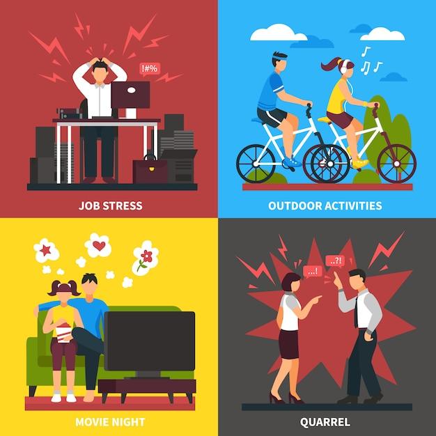 Stress en ontspanning platte ontwerpconcept Gratis Vector