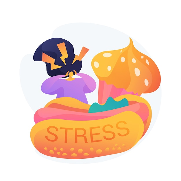 Stress eten. ongezonde voeding consumeren. eetbuien, dwangmatig overeten, angst. benadrukt meisje met junkfood, hotdog en cupcake. Gratis Vector