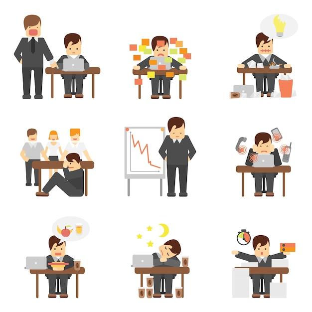 Stress op het werk iconen set Gratis Vector