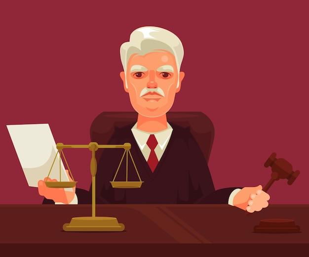 Strikte rechter man karakter geïsoleerd op violet Premium Vector