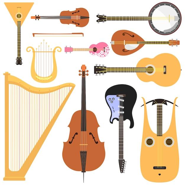 Stringed muziekinstrumenten instellen klassieke orkestkunst geluidstool en akoestische symfonie stringed viool houten apparatuur. Premium Vector