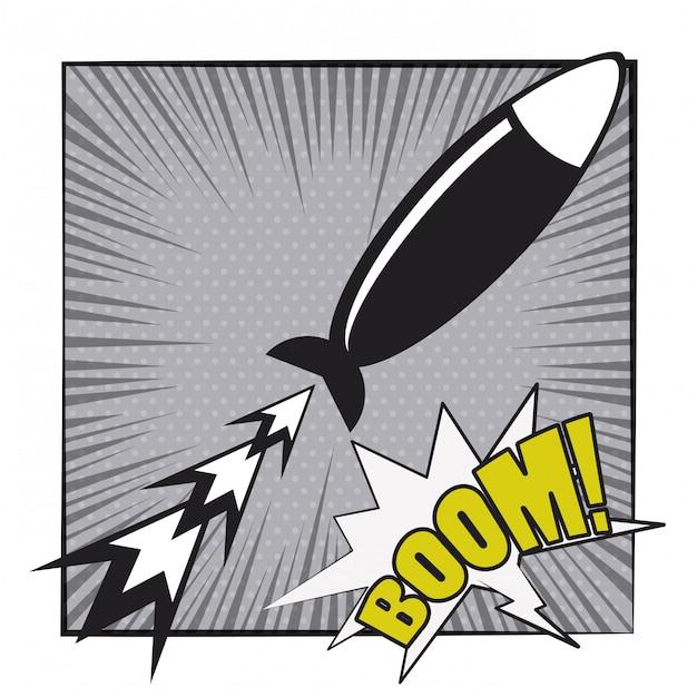 Stripboek explosie popart cartoon in zwart en wit Premium Vector