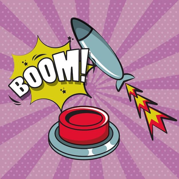Stripboek explosie popart cartoon Premium Vector