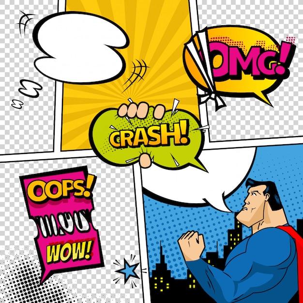 Stripboekpagina gedeeld door lijnen met spraak bubbels, superheld en geluiden effect. Premium Vector