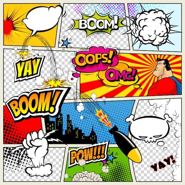 Stripboekpagina gedeeld door lijnen met tekstballonnen Premium Vector